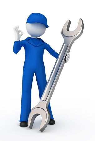 Mechanic with a spanner showing ok gesture. 3d illustration.