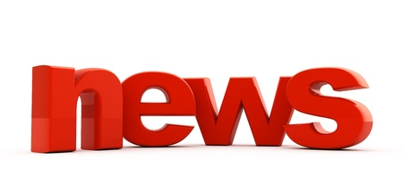 News word of red three-dimensional letters.