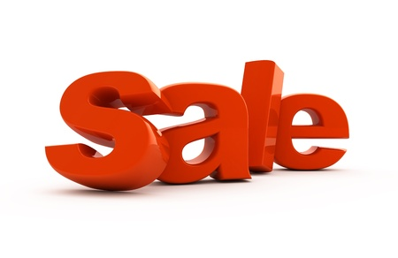 Sale word single from red three-dimensional letters.