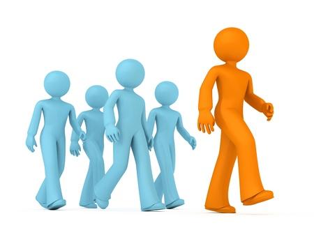 follow the leader: Groep van 3D jongens volgen de leider.