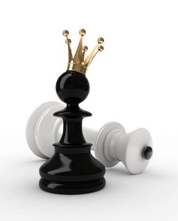 pawn to king: The pawn has won. Chess. 3d illustration.