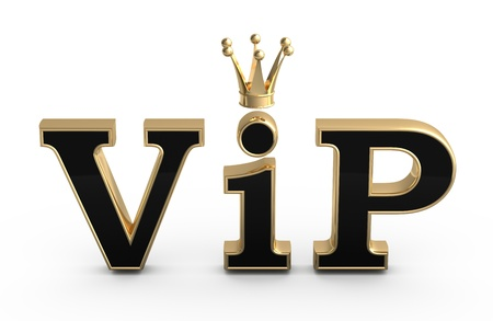 VIP abbreviation with a crown.