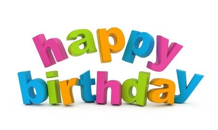Happy birthday text isolated on white. Stock Photo - 9865241