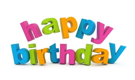 text 3d: Happy birthday text isolated on white.
