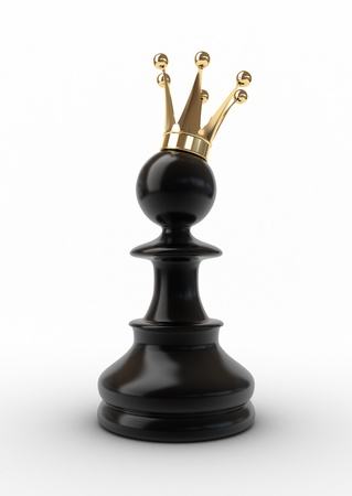 Pawn in a golden crown isolated on white.