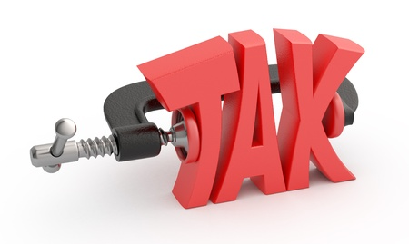 clamp: Word tax in clamp, tax reduction concept. Stock Photo