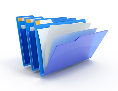 Three blue folders with paper isolated on white.