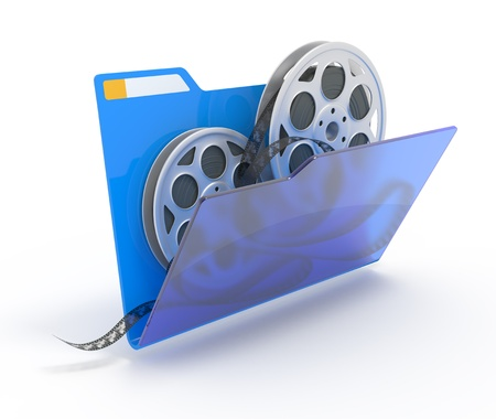 3d illustration of a folder with a films spools, isolated on white.