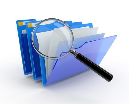 Magnifying glass over the blue folders. 3d illustration. Standard-Bild