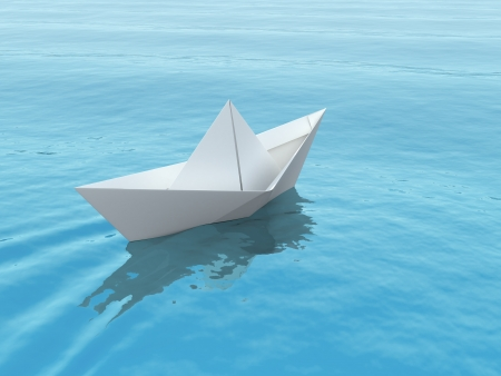 3d boat: Paper boat on a blue sea. 3d illustration. Stock Photo