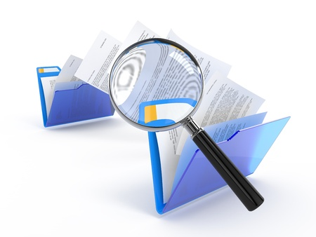 Magnifying glass over the moving documents between blue folders. 3d illustration.