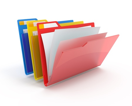Red, yellow, blue folders with paper isolated on white.