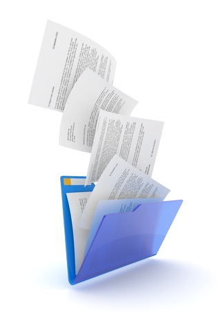 Downloading dcuments in blue folder. 3d illustration. Zdjęcie Seryjne