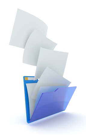 documents: Downloading files in blue folder. 3d illustration.