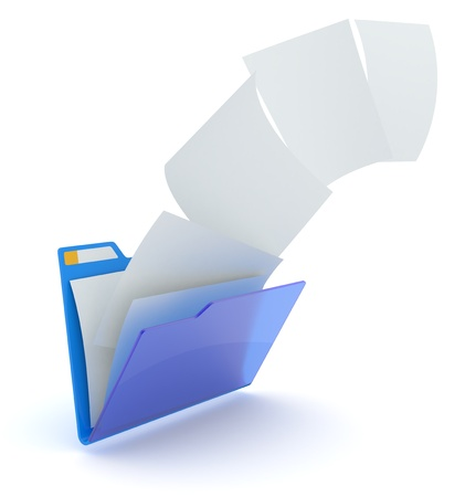 reports: Uploading files from blue folder. 3d illustration. Stock Photo