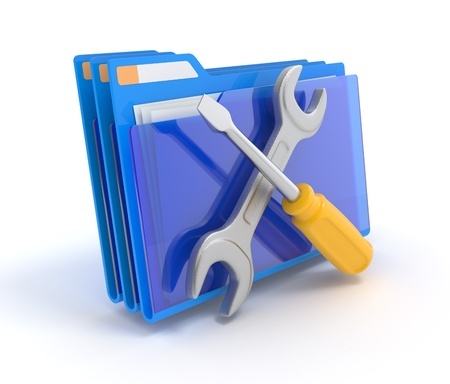 update: Blue folder with tools isolated on white. 3d illustration