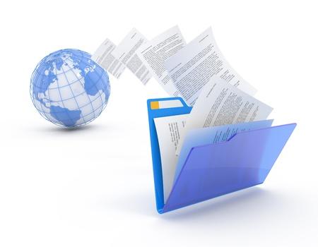 Transfert des documents. Transmission des fichiers 3d illustration conceptuelle.