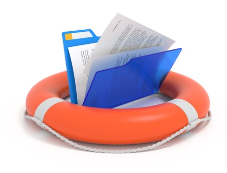 Files rescue. Blue folder in a lifebuoy isolated on white.