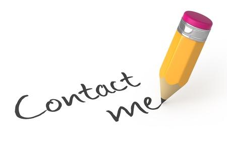 contact info: Little scrittura matita contattarmi parole. Illustrazione 3D.