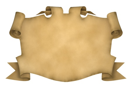 treasure map: Element of design in the form of ancient parchment with curled edges. 3d rendered.