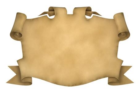 mappa del tesoro: Elemento di design a forma di pergamena antica con bordi arricciati. 3D rendering.
