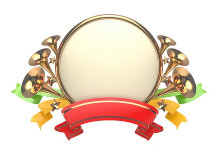 Round celebratory badge with trumpets, stars and tapes. photo