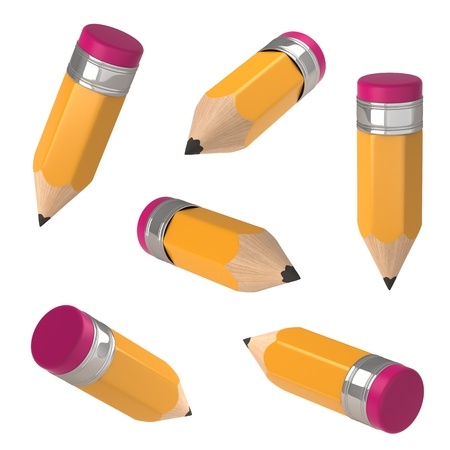 Pencil isolated on white. 3d illustration.