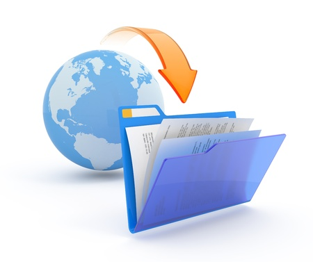file sharing: Files download. 3d illustration. Stock Photo