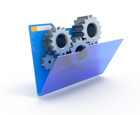 Gears in a blue folder. 3d illustration.