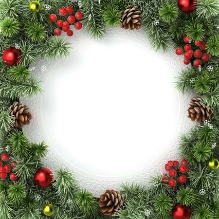 holiday picture: December background from christmas tree branches. Stock Photo