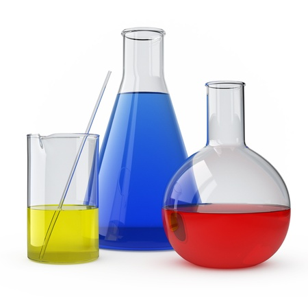 Lab Glass with a colored liquid over white.