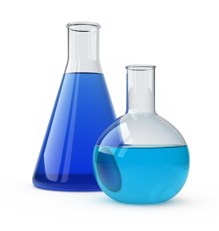 science experiments: Lab flasks with a blue liquid over white.