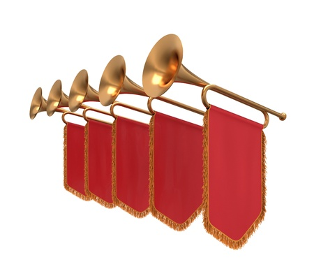 loudly: Trumpets with a red banners isolated on white. Stock Photo