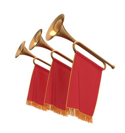 fanfare: Three trumpets with a red flags pennants banners. Stock Photo