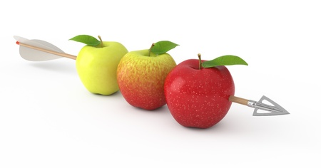 pierce: An arrow piercing three apples. 3d rendered illustration. Stock Photo