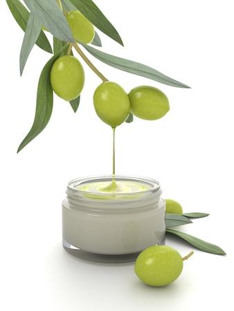 addition: Cr�me cosm�tique avec l'ajout d'huile d'olive. Banque d'images