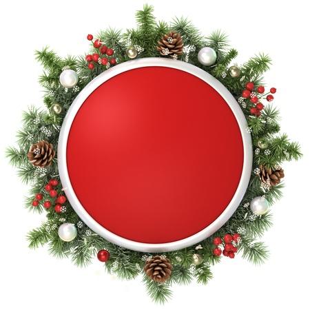 December frame from christmas tree branches. Standard-Bild