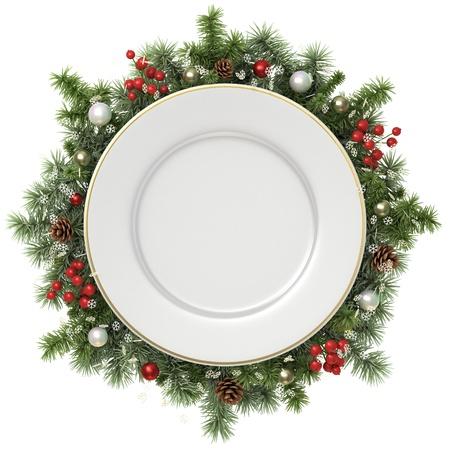 cena navideña: Placa en una corona de Navidad aislado en blanco.