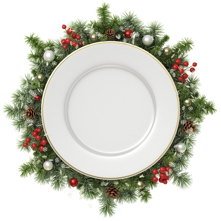 christmas dish: Plate in a Christmas wreath isolated on white.