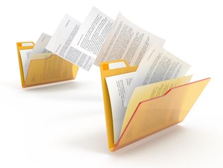 arquivos: Documentos entre pastas em movimento. Ilustra��o 3d. Banco de Imagens