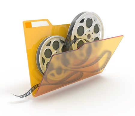 3d film: 3d illustration of a folder with a films spools, isolated on white.