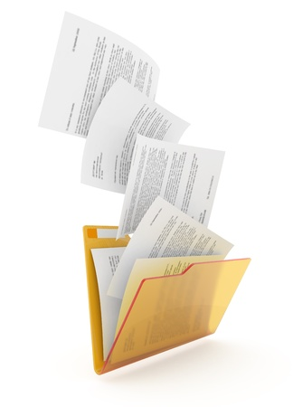 Downloading dcuments in yellow folder. 3d illustration. Stock Photo