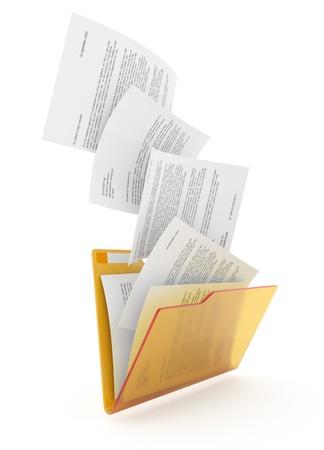 Downloading dcuments in yellow folder. 3d illustration. Standard-Bild