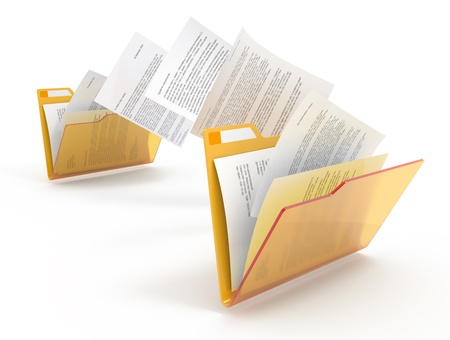 Moving documents between yellow folders. 3d illustration.