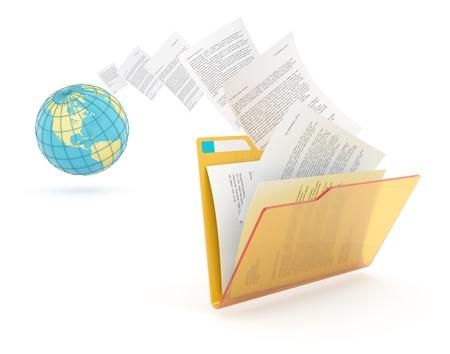 La transferencia de los documentos. Reenvío de archivos 3d ilustración conceptual.