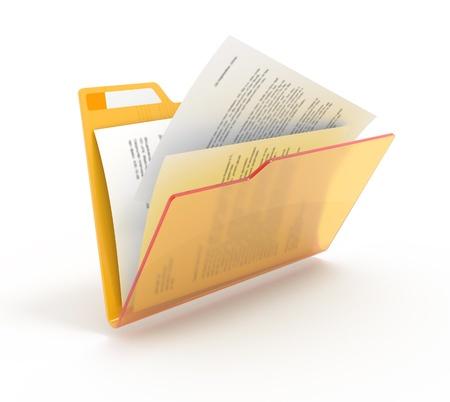 documentos: Carpeta con documentos en blanco. Foto de archivo