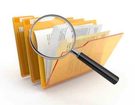 magnified: Magnifying glass over the yellow folders. 3d illustration.