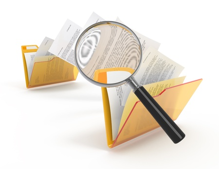 Magnifying glass over the moving documents between folders. 3d illustration. Stock Photo