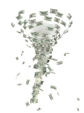 dinero volando: Ilustración de un tornado de dinero. Aislado en la ilustración 3d blanco.