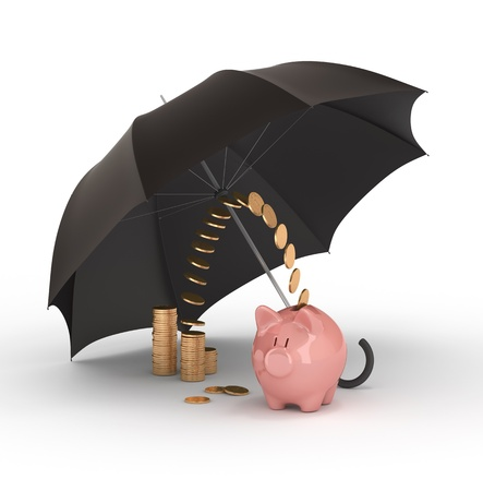 Piggy bank under umbrella. Protection of savings. photo